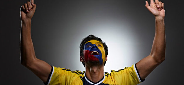Colombian Futbol soccer fan face paint from Colombia photo by Monte Isom